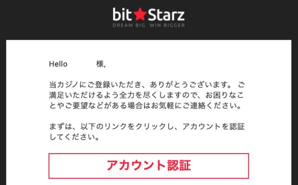 ビットスターズのメール認証画面